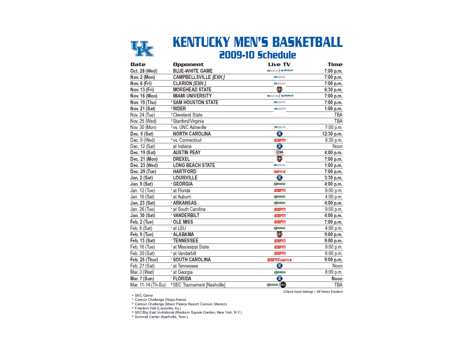 This is a photo of Witty Kentucky Basketball Schedule Printable